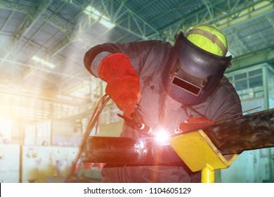 Welding Tig process in factory by worker wear equipment protective safe Then success in project site with pipe steel system