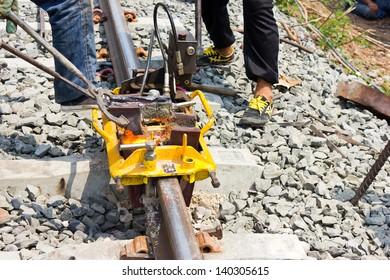 Welding tracks,thermit rail welding. .