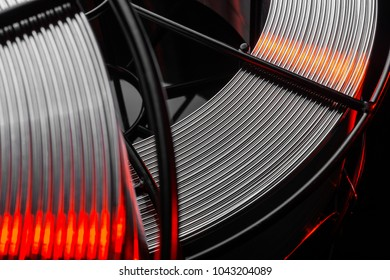 welding wire, stainless steel, on a black background
