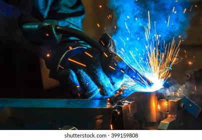 welding work Industrial automotive part in factory