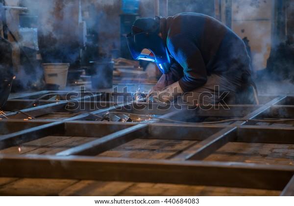 Welding work. Selective focus.