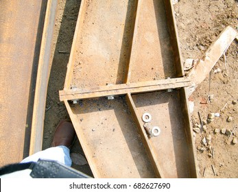 Welding work for structural steel plates. Parts of  structural building roof structure .
