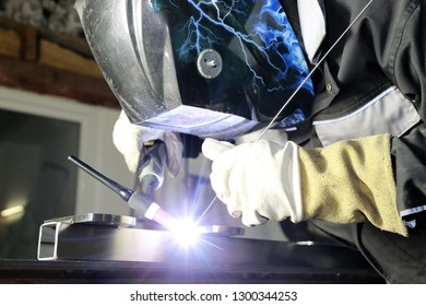 Welding work, welder