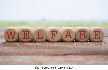 Welfare word written on cube shape wooden blocks on wooden table.