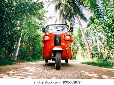 Weligama, Sri Lanka – December 27, 2017: Red tuk-tuk under the palm trees on the country road in Weligama, Sri Lanka