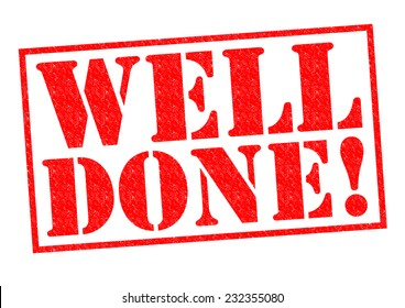 WELL DONE! red Rubber Stamp over a white background.