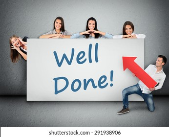 Well done word writing on white banner