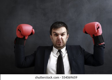 A well dressed sales person standing with red boxing gloves