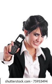 Well dressed woman showing a cell phone