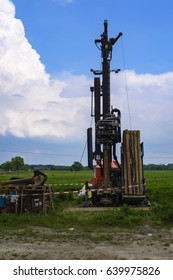 Well drill on a field