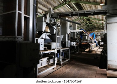 A well equipped japanese green tea processing factory at Shizuoka, Japan. From steaming, rolling to drying process.
