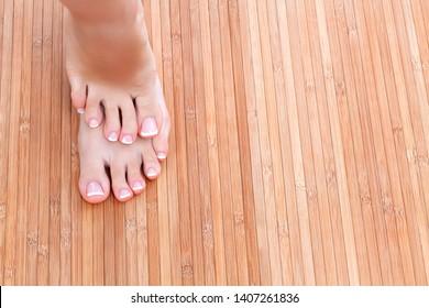 Well groomed female feet. Foot skin care concept