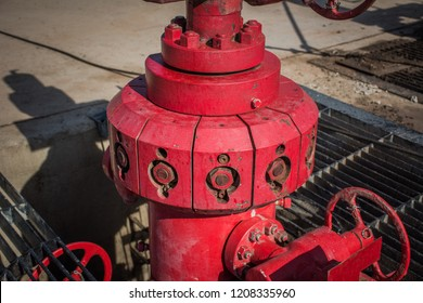 Well head in onshore land rig in oil and gas indrustry.
