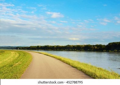 Well known Danube cycle trail running along the Danube river in Austria. Danube bicycle track is among the most beautiful, oldest and longest cycling tracks in Europe.