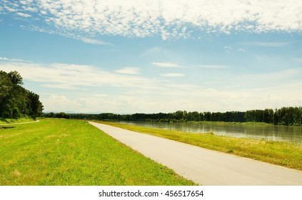 Well known Danube cycle trail running along the Danube river in Austria in the summer. Danube bicycle track is among the most beautiful, oldest and longest cycling tracks in Europe.