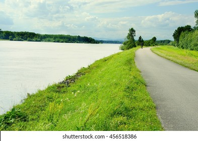 Well known Danube cycle trail runs along the Danube river in Austria. Danube cycle trail in the summer.