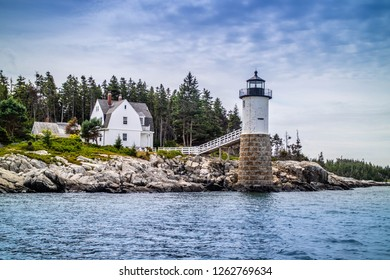 A well known Point Robinson Light in Acadia National Park, Maine