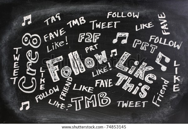 Well known Social Media or Networking acronyms,abbreviations and jargon written on a used blackboard