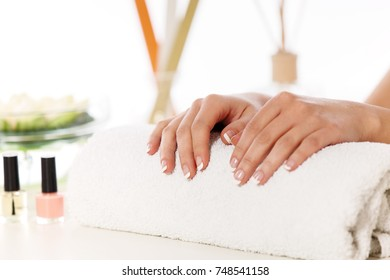 Well manicured nails. Spa and wellness concept.