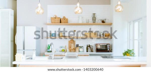 Well organized kitchen concept. Modern interior.