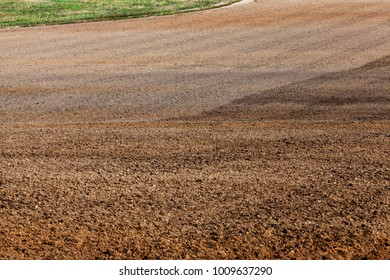 well plowed soil in an agricultural field before planting, close-up