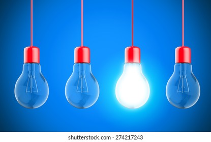 Well rendered Light bulb lamps on blue background