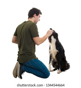 Well trained Border Collie eating from his master hands. Young man owner sitting down on knees feeding a homeless hungry dog isolated over white background. People kindness concept, share with puppy.