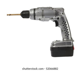 Well used classic retro style cordless battery power drill isolated against white background.