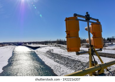 The Welland Canal seen while closed and drained for annual winter maintenance.