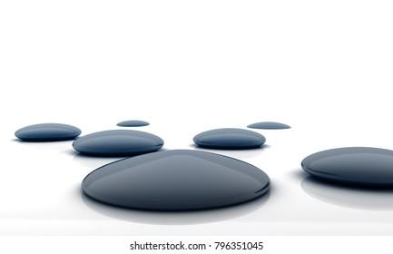 wellbeing pathway of wet black stones