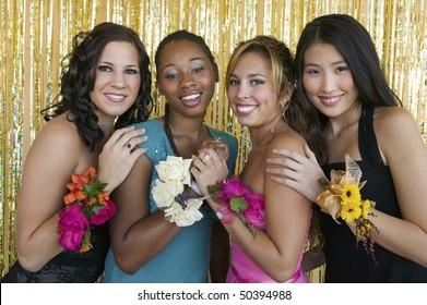 Well-dressed teenager girls at school dance, portrait