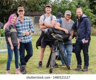 Wellesbourne, Warwickshire/England UK - 08.09.2019: The BBC Countryfile film crew with Matt Baker and a young fan recording a programme.