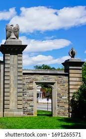 Wellesley, Massachusetts/United States-6/20/2019: historic stone gate of Wellesley college on Main Street