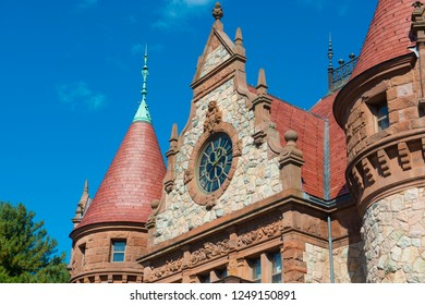 Wellesley Town Hall was built in 1883 with Richardsonian Romanesque style in Wellesley, Massachusetts, USA.