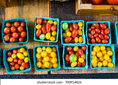 Wellfleet, MA, USA - August 11 2017: Colorful tomatoes on a Farmer's market.