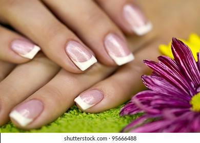 Well-groomed hands with french manicure
