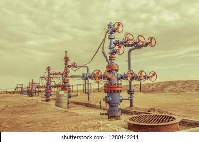 Wellheads with valve armature on a oil field.