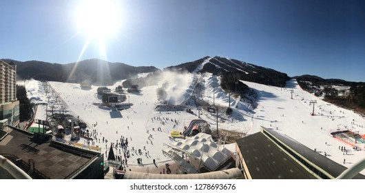 Welli Hilli Park Ski Resort in Korea, December 29, 2018. Hoengsoeng, South Korea. Ski sort in Korea of Asia. Ski area view panorama on hotel