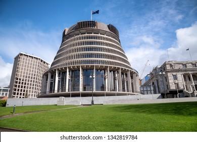 Wellington Beehive Parliament Buildings, New Zealand.