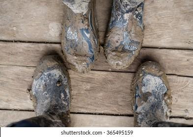 Wellington boots really muddy
