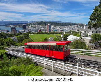 Wellington Cable Car ascending on a beautiful day. Wellington New Zealand