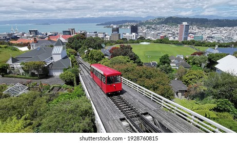 Wellington cable car and blue sky and green