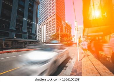 Wellington Innenstadt mit Sonnenreflexion über Gebäude