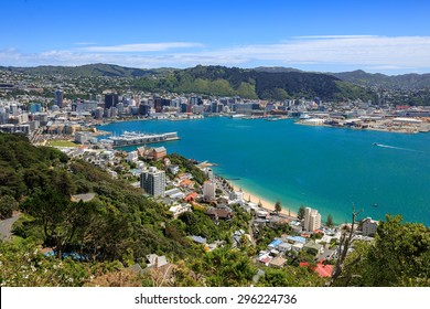Wellington City harbor and downtown. Buildings are in central business district.