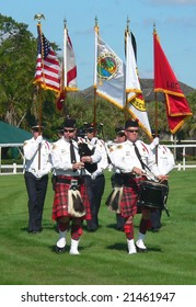 WELLINGTON, FL - NOV 29: The pipe, drum and honor guard ceremony takes place at the Palm Beach Steeplechase on November 29, 2008 in Wellington, FL.
