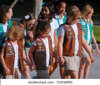 WELLINGTON, FL - November 11, 2017: Scene from the Wellington Veteran's Day parade on a sunny Saturday morning showing Girls Scout Brownies and Daisies