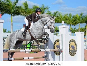 WELLINGTON, FLORIDA - DECEMBER 3, 2016: An unidentified rider jumps in the NAL Child/Adult Jumper Classic at the Palm Beach International Equestrian Center on December 3, 2016 in Wellington, Florida.