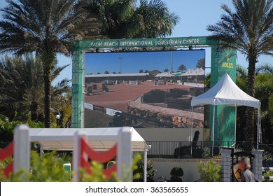 WELLINGTON, FLORIDA - January 16, 2016: An image of the jumbo screen in the Main Arena at the Palm Beach International Equestrian Center in Wellington, FL during the 2016 Winter Equestrian Festival