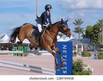 WELLINGTON, FLORIDA - January 16, 2019: Mimi Gochman and Celina BH competing at WEF 2 Netjets USEF AA/CSI 2 in Wellington, Florida