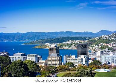 Wellington Harbour and Central Business District on a bright summer day. Wellington, New Zealand.